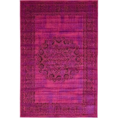Neuilly Fuchsia/Purple Area Rug Rug Size: 4 x 6