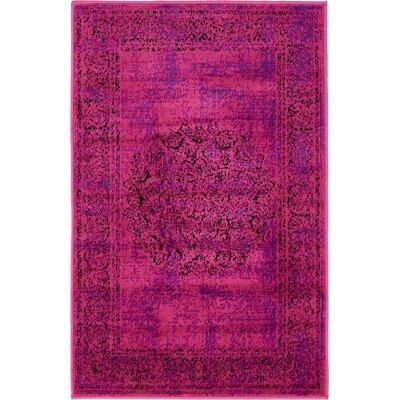 Neuilly Fuchsia/Purple Area Rug Rug Size: 2 x 6