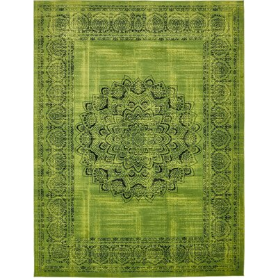 Neuilly Sage Green/Black Area Rug Rug Size: 10 x 13