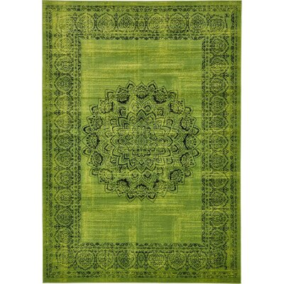 Neuilly Sage Green/Black Area Rug Rug Size: 7 x 10