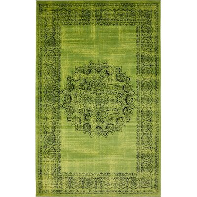 Neuilly Sage Green/Black Area Rug Rug Size: 5 x 8