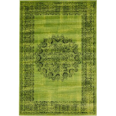 Neuilly Sage Green/Black Area Rug Rug Size: 4 x 6