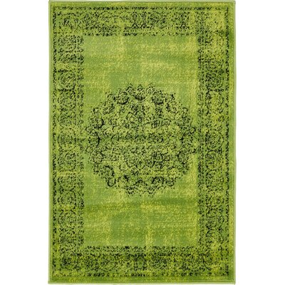 Neuilly Sage Green/Black Area Rug Rug Size: Rectangle 5 x 8