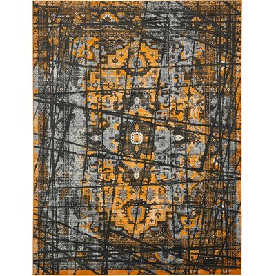 Yareli Black/Orange Area Rug Rug Size: 13' x 19'8