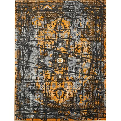 Yareli Black/Orange Area Rug Rug Size: 10' x 13'
