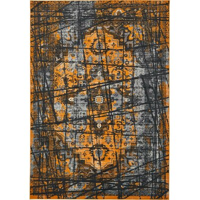 Yareli Black/Orange Area Rug Rug Size: 8' x 11'6