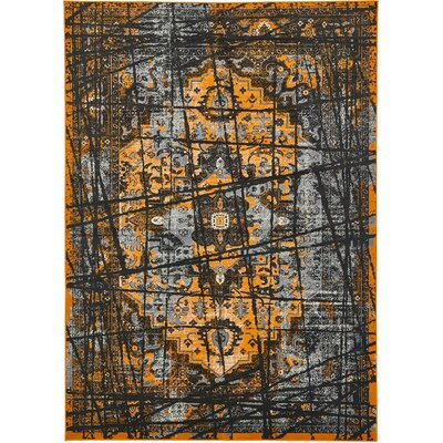 Yareli Black/Orange Area Rug Rug Size: 7' x 10'