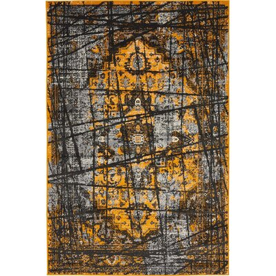 Yareli Black/Orange Area Rug Rug Size: 4 x 6