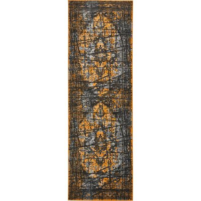 Yareli Black/Orange Area Rug Rug Size: Runner 3 x 910