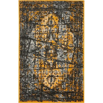 Yareli Black/Orange Area Rug Rug Size: 2 x 3