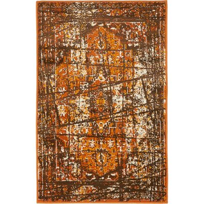 Yareli Brown/Terracotta Area Rug Rug Size: 2' x 3'
