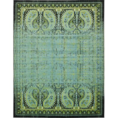 Yareli Aqua/Black Area Rug Rug Size: 13 x 198