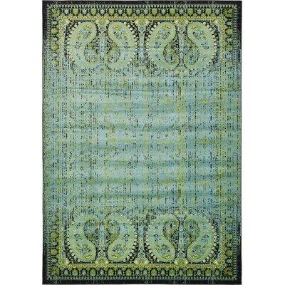 Yareli Aqua/Black Area Rug Rug Size: 8' x 11'6