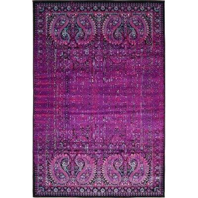 Yareli Lilac/Black Area Rug Rug Size: 4' x 6'