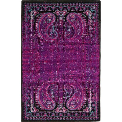 Yareli Lilac/Black Area Rug Rug Size: 2 x 6