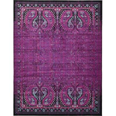 Yareli Lilac/Black Area Rug Rug Size: 13' x 19'8