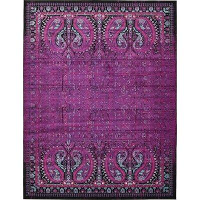 Yareli Lilac/Black Area Rug Rug Size: 10' x 13'