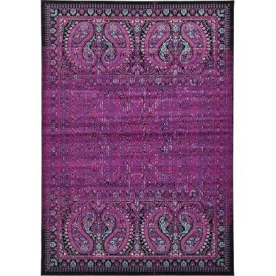 Yareli Lilac/Black Area Rug Rug Size: 7' x 10'