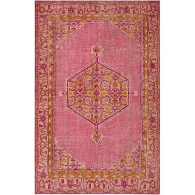 Hagerman Hot Pink/Gold Oriental Area Rug Rug Size: Rectangle 36 x 56