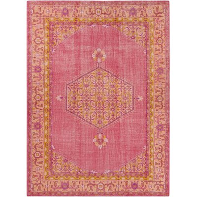 Hagerman Hot Pink/Gold Oriental Area Rug Rug Size: 8 x 11