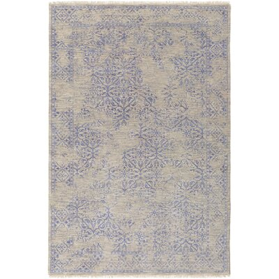Rehm Hand-Knotted Medium Gray Area Rug Rug size: 56 x 86
