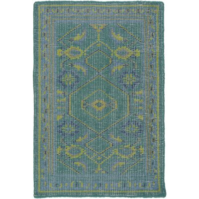 Hagerman Hand-Knotted Teal Area Rug Rug size: Rectangle 2 x 3