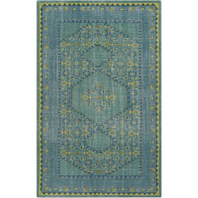 Hagerman Hand-Knotted Teal Area Rug Rug size: Rectangle 36 x 56