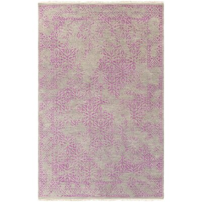Rehm Hand-Knotted Bright Purple Area Rug Rug size: Rectangle 56 x 86