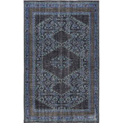 Hagerman Hand-Knotted Blue/Black Area Rug Rug Size: 56 x 86