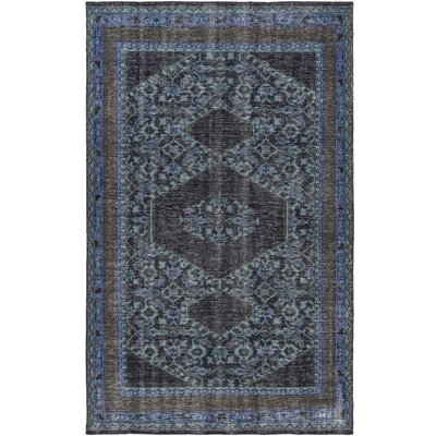 Hagerman Hand-Knotted Blue/Black Area Rug Rug Size: 8 x 11