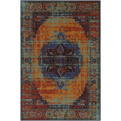 Prasad Blue/Orange Area Rug Rug Size: Rectangle 8 x 10