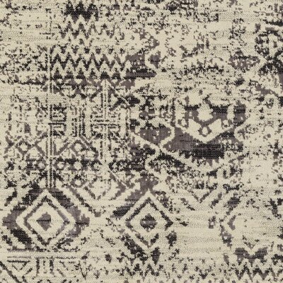 Puran Gray/Cream Area Rug Rug Size: 53 x 73