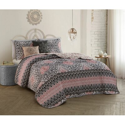 Ruybal 5 Piece Quilt Set Size: Queen, Color: Pink