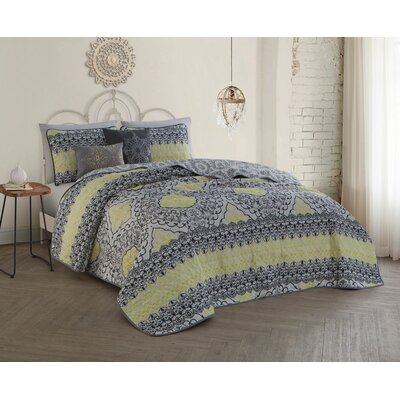 Ruybal 5 Piece Quilt Set Size: Queen, Color: Yellow