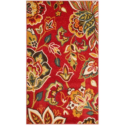 Fahy Red/Ivory Area Rug Rug Size: Rectangle 51 x 76