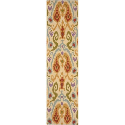 Anand Hand-Hooked Ivory Area Rug Rug Size: Runner 26 x 10