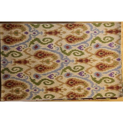 Anand Hand-Hooked Ivory Area Rug Rug Size: 6 x 9