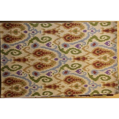 Anand Hand-Hooked Ivory Area Rug Rug Size: 79 x 99