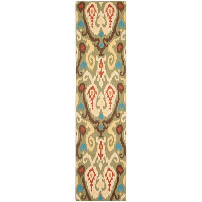 Anatole Hand-Hooked Green Area Rug Rug Size: Runner 26 x 10