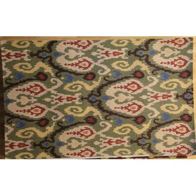 Anatole Hand-Hooked Green Area Rug Rug Size: 79 x 99