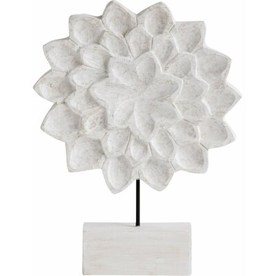White Wood Floral Sculpture