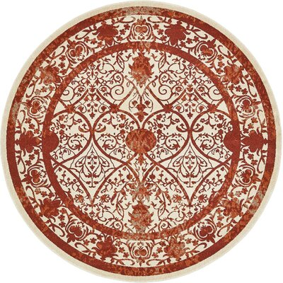 Agnes Lake Terracotta Area Rug Rug Size: Round 8'