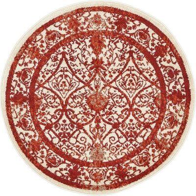 Agnes Lake Terracotta Area Rug Rug Size: Round 3
