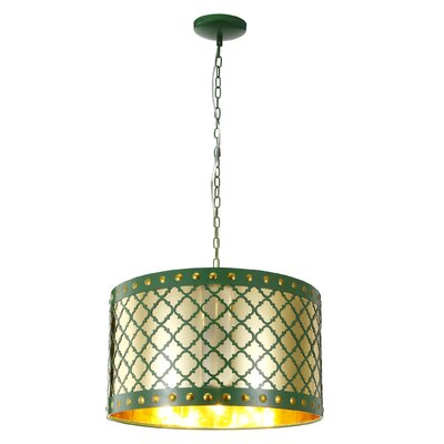 Chaim 3-Light Metal Drum Pendant