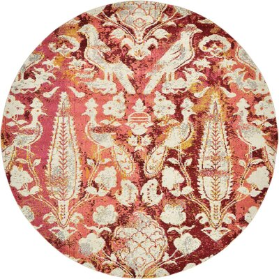 Roshan Red Area Rug Rug Size: Round 8'