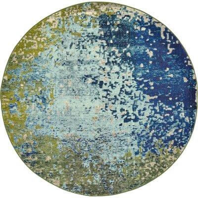 Roshan Blue Area Rug Rug Size: Round 6'