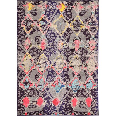 Sharma Navy Blue Area Rug Rug Size: 7 x 10