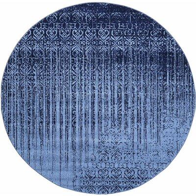 Ronit Blue Area Rug Rug Size: Round 8