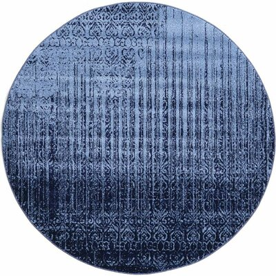 Ronit Blue Area Rug Rug Size: Round 6'