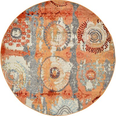 Hayes Orange Area Rug Rug Size: Round 8